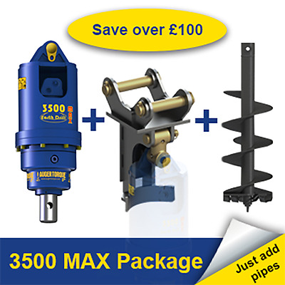 Auger Torque 3500 MAX Earth Drill Package for Digger / Excavator 2.5-4.5 Ton