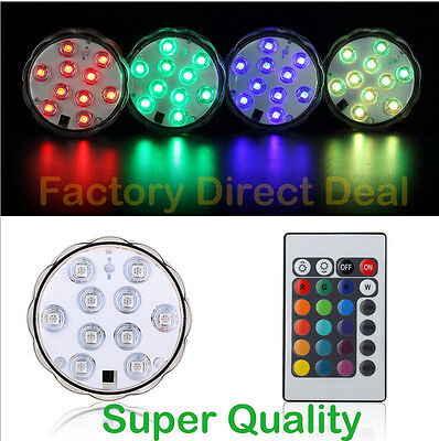10LED Colorful Waterproof LED RGB Submersible Light Party Lamp +Remote Control