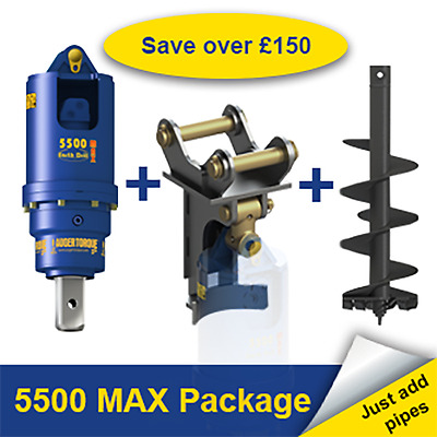 Auger Torque 5500 MAX Earth Drill Package for Digger / Excavator 4.5-6 Ton