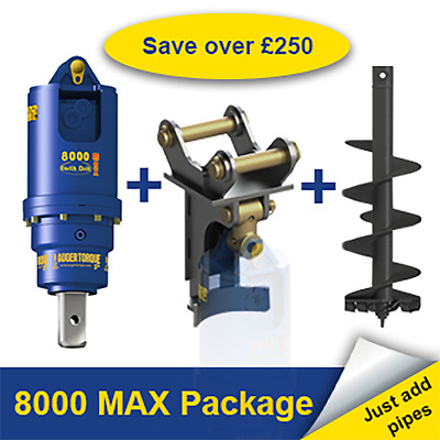 Auger Torque 8000 MAX Earth Drill Package for Digger / Excavator 6-8 Tonn