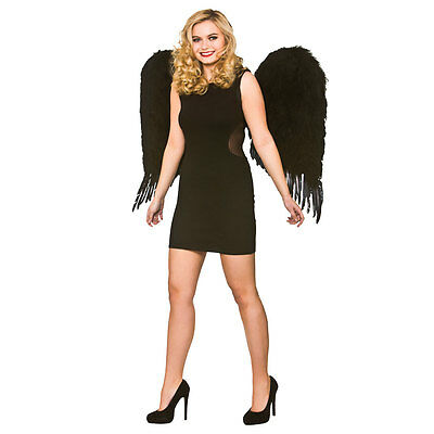 Deluxe Large Feather Wings - Black Fancy Dress Accessory for Cosplay