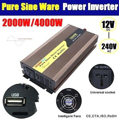 Pure Sine Wave 2000W / 4000W (Peak) Watt Power Inverter 12V to 240V USB Charge
