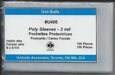 """100 New Uni-Safe 3-mil U406 Poly Sleeves for Postcards Photo 4"""" x 6-1/4"""""""