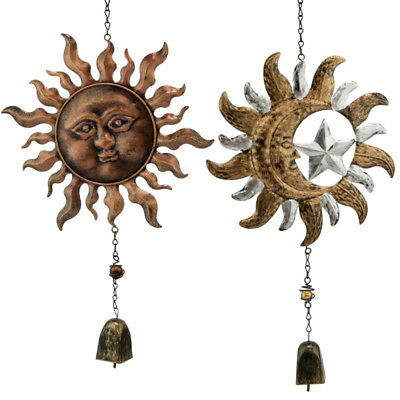 Shabby-Chic Rustic Antique Astrology Sun Moon Star Hanging Garden Wind Chime