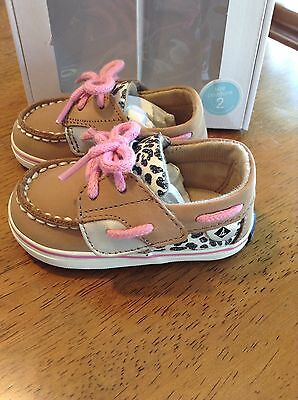 NIB Sperry Bluefish Shoes Pink Leopard Toddler Girl Size 2