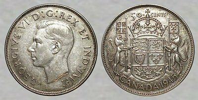 WWII SILVER Coin - 1945 Canada 50 Cents - SHARP DETAILS / NICE COLLECTOR COIN