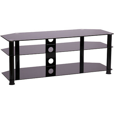 MMT Black glass tv stand 1250mm wide for 32 to 55 inch tv LCD LED smart screen