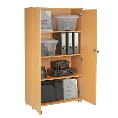 Office furniture storage filing cupboard 4 shelves beech two door cabinet
