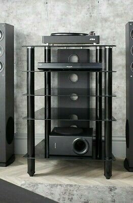 MMT Hi Fi stand rack 5 shelf cabinet black glass black legs extra deep 500mm