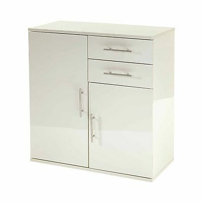 MMT Modern White High gloss buffet sideboard storage cabinet 2 drawers 2 doors
