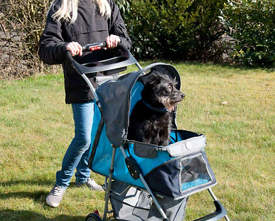 Pet Stroller for Small Dogs 15kg Blue/Navy Multiple Entrance Netted Window New