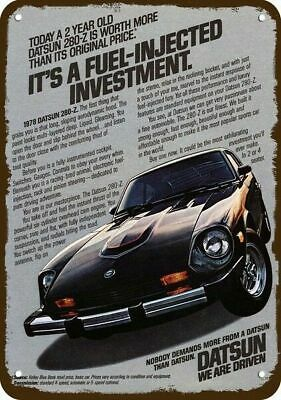 1978 DATSUN 280-Z Car Vintage Look Replica Metal Sign - FUEL INJECTED INVESTMENT