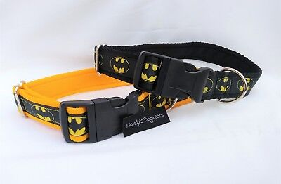 Batman dog collar only or collar and lead set black or yellow medium/large dogs