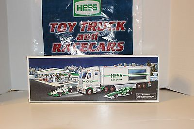 2003-Hess- Toy Truck-With-2- Race Cars And Bag--- Mint