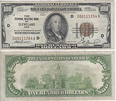 1929 $100 Federal Reserve Bank Note Cleveland District Very Fine FR 1890-D