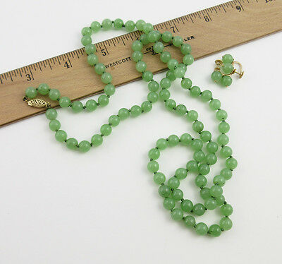 """Vintage Chinese 14K Gold & Glassy Jade Stone Bead Necklace & Earring Set - 32"""""""