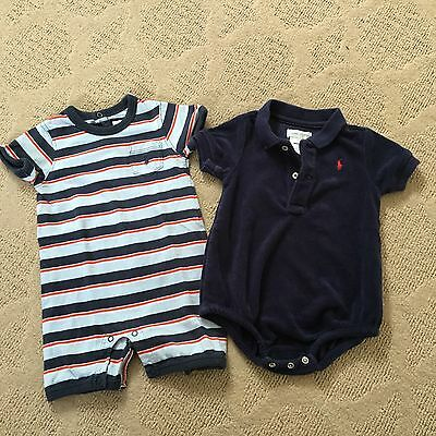 Lot Infant Baby Boy One Piece Romper by Ralph Lauren Size 6 mos