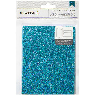 """American Crafts A2 Cards W/Envelopes 4.375""""X5.75"""" 8/Pkg Peacock Glitter 366885"""