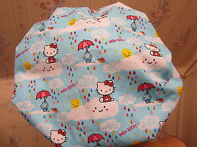 HELLO KITTY W/CLOUDS---bouffant- STYLE- SCRUB HAT/ MEDICAL/ SURGICAL