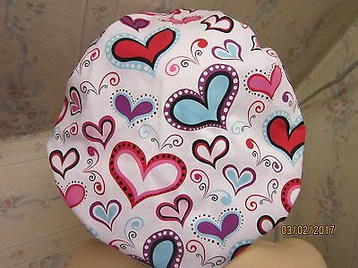 HEARTS LADIES BOUFFANT --SCRUB HAT/ MEDICAL/ SURGICAL-adjustable