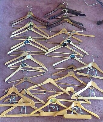 Lot 30 Wooden Clothes Hangers Coats Pants Skirts Advertising Hotels Some Vtg