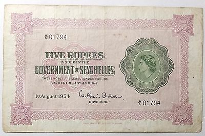 1954 Government of Seychelles 5 Rupees