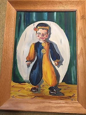 """16"""" Vintage Oil Painting on Canvas Circus Clown Portrait Signed Framed 1956"""