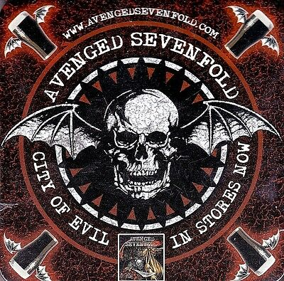 New! AVENGED SEVENFOLD 4 Beer Drink Coasters City of Evil Promo Rare Metalcore