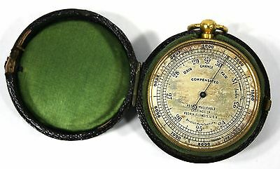 British Pocket Compensated Barometer Antique w/ Leather Case Peoria Malleable Co