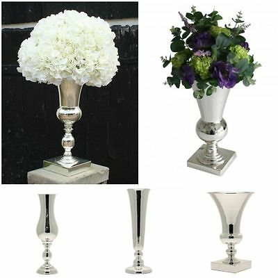 Stunning Large Silver Plated Luxury Vase Display Urn Table Centrepiece 40-51cm