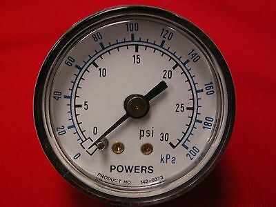"USED POWERS 0-30 PSI PRESSURE GAUGE  CASE 1/8 INCH NPT BACK 1-9/16"" diameter"