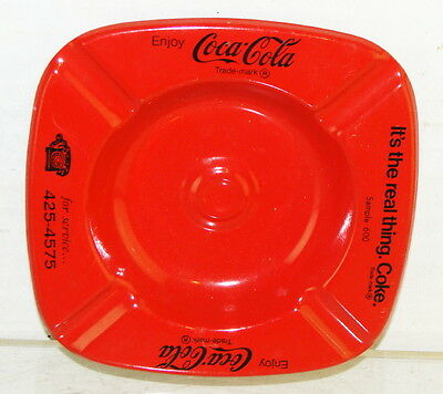 Original 1980's Enjoy Coca Cola It's The Real Thing Stamped Metal Ashtray