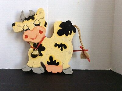 Wooden Cow Wall Hanging Used