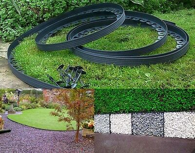 Plastic Garden Edging 10 meters + 60 Pegs For Lawn Borders Paths Driveway Bark