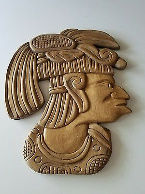 carved wooden aztec warrior plaque, wood head carving