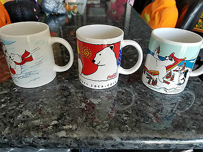 1996 Coke Polar Bear Set Of 3 Coffee Cups Mugs Vintage Coca-Cola Snow Sliding