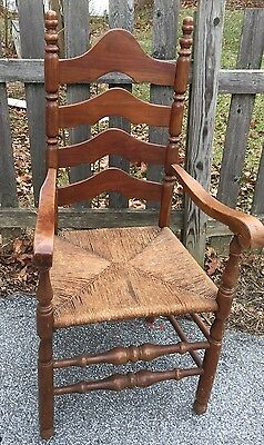 Antique Ladder Back Arm Chair Rush Seat Sturdy Walnut Turned Legs
