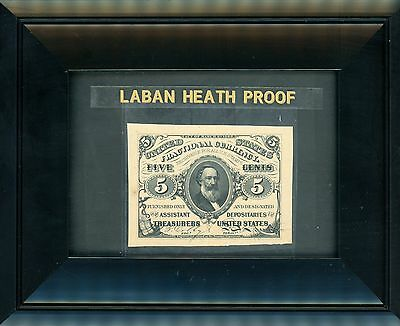 Five Cent Note Third Issue Fractional Currency Laban Heath Proof 1870's ! Superb