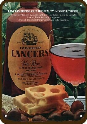 1978 LANCERS VIN ROSE DINNER WINE Vintage Look Replica METAL SIGN -SIMPLE THINGS