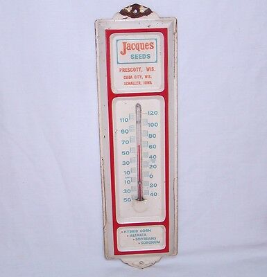 Vintage Jacques Seeds Iowa Farm Thermometer Porcelain Advertising Sign