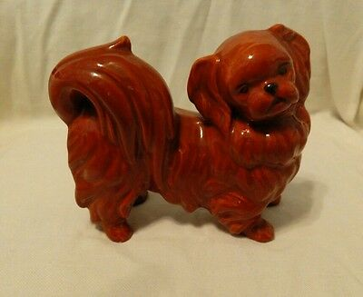 Pekingese figurine ceramic brown vintage collectible