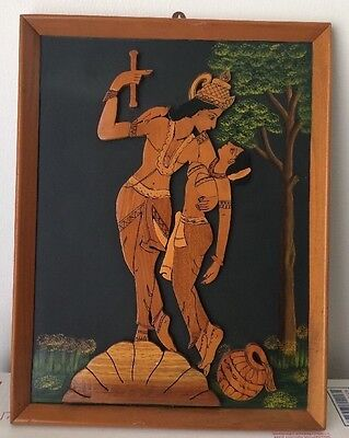 VINTAGE Lepakshi INDIA PAINTING And Wood ART RARE OLD