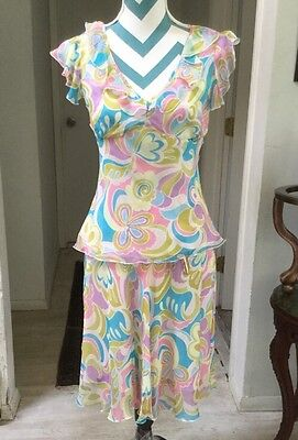 Style Silk Floral Outfit Skirt Top Blouse Pink Blue Purple Green M Medium