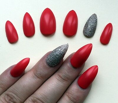 Hand Painted False Nails STILETTO Full Cover. Orange Red Matte & Bronze va va UK