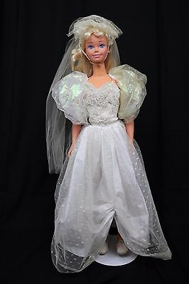 """My Size Bride Barbie Doll 1992 VTG 1992 36"""" 3ft Tall Adjustable Size Bridal Gown"""