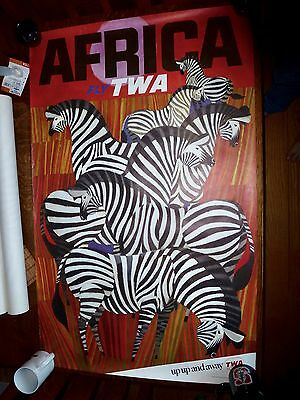 Original Travel Poster Mid-60s David Klein TWA Africa