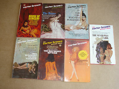 Lot of 7 The Carter Brown Mystery series books paperback The dame,House of Sorce