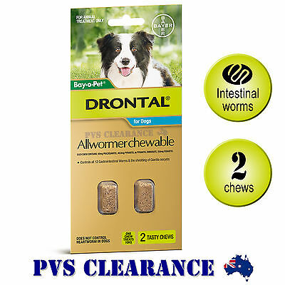 Drontal Allwormer for Medium Dogs Up To 10kg - 2 Chews - Dog Wormer Tapeworm