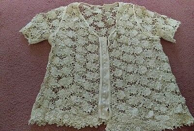 Best Antique Crochet Ladies Dress Top Blouse Handmade Knitted Ivory Victorian