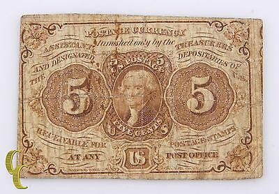 First Issue 5 Cent Fractional Note Postage Currency July 17, 1862